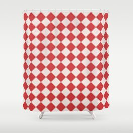 Red and White Checkered Diamond Pattern Shower Curtain
