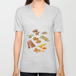 Watercolor Illustration of a set of spices Unisex V-Neck
