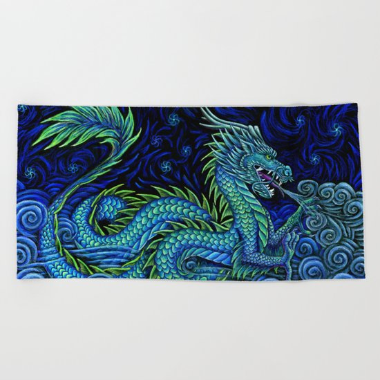 Chinese Azure Dragon Beach Towel