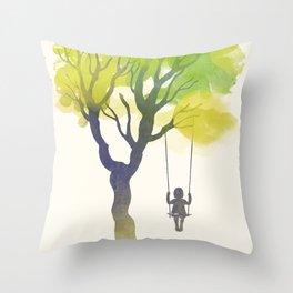 Tree swing girl art print Throw Pillow
