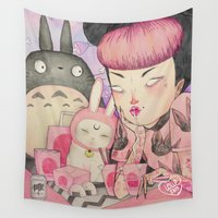 loll3 Wall Tapestries featuring Noodle Eater by lOll3