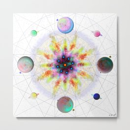 Sacred Planetary Geometry (Light) Metal Print