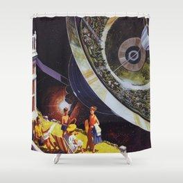 Planetary Precipice Shower Curtain