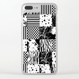 Eclectic Black and White Squares Clear iPhone Case