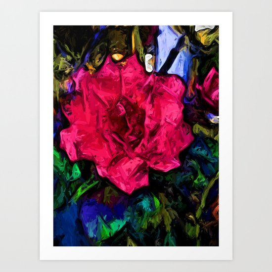 Pink Flower with Black Lines Art Print