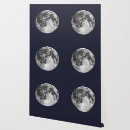 Full Moon on Navy Minimal Design Wallpaper