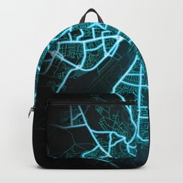 Halle, Germany, Blue, White, Neon, Glow, City, Map Backpack