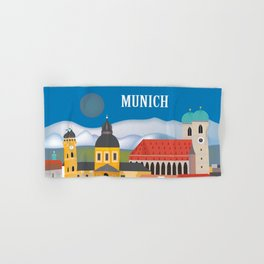 Munich, Germany - Skyline Illustration by Loose Petals Hand & Bath Towel