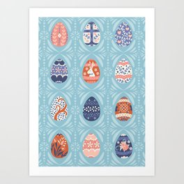 Ornate Easter Eggs in Light Blue Art Print
