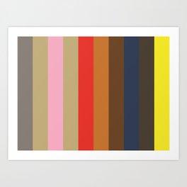 GENEROSITY: (G)rey (E)cru (N)adeshiko Pink (E)cru (R)ed (O)chre (S)epia (I)ndigo (T)aupe (Y)ellow Art Print
