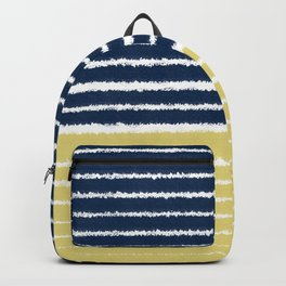 Gold and Navy Blue brush Strokes Backpack