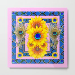 PINK-BLUE PEACOCK SUNFLOWERS DECO JEWELED Metal Print