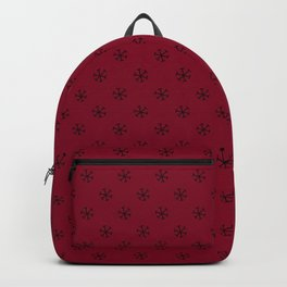 Black on Burgundy Red Snowflakes Backpack