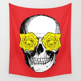 Skull and Roses   Red and Yellow Wall Tapestry