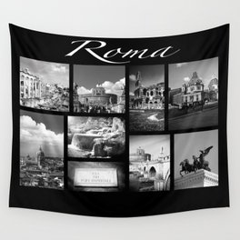 Rome Poster black and white Wall Tapestry