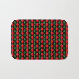 Pattern of christmas hexagons and trees Bath Mat