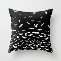 bats Throw Pillows featuring Bats by PunkRockPlanet
