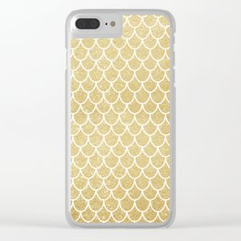 Mermaid Tail Pattern  |  Gold Glitter Clear iPhone Case