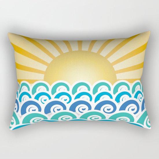 Along the Waves Blue Rectangular Pillow