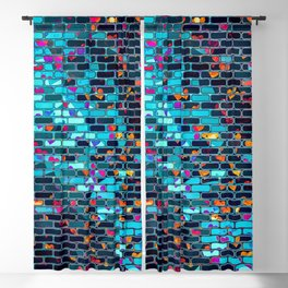 Colorful Abstract Brick Wall Blackout Curtain