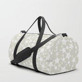 White Block Print Stars Pattern on Beige/Greige Duffle Bag