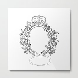 Celtic Belt With Rose and Thistle Drawing Metal Print