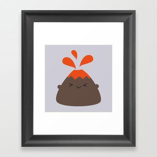 Happy Kawaii Volcano Framed Art Print