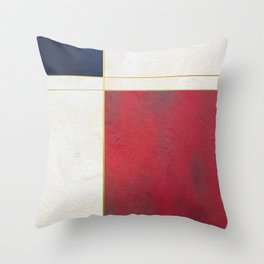 Blue, Red And White With Golden Lines Abstract Painting Throw Pillow
