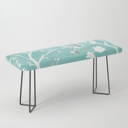 Chinoiserie Panels 1-2 White Scene on Teal Raw Silk - Casart Scenoiserie Collection Bench