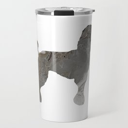 Grey Silver Poodle Abstract Fluid Acrylic Art Travel Mug