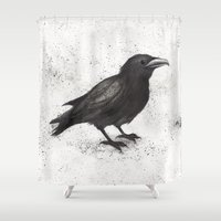 crow Shower Curtains featuring Crow by Puddingshades