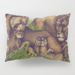 Vintage Illustration of a Lion Family (1874) Pillow Sham