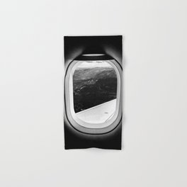 Window Seat // Scenic Mountain View from Airplane Wing // Snowcapped Landscape Photography Hand & Bath Towel