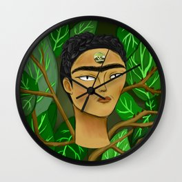 "Frida Khalo ""thinking about death"" Wall Clock"