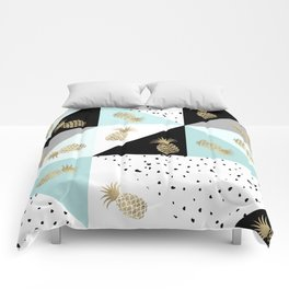 Pastel color block watercolor dots faux gold pineapple Comforters