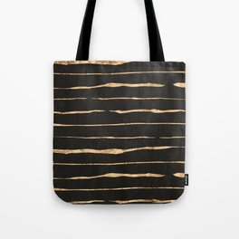 Black and rose-gold abstract stripes Tote Bag