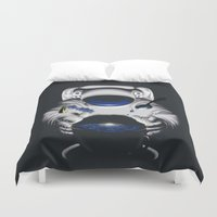cafe Duvet Covers featuring Cafe Galactica by JoPruDuction Art