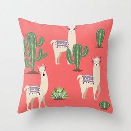 Llama with Cacti Throw Pillow
