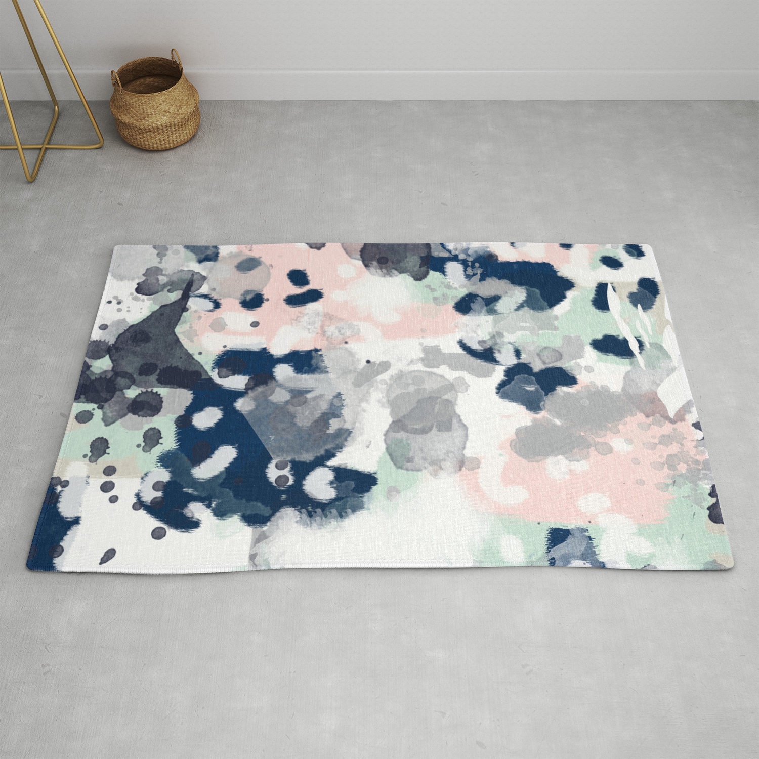 Image of: Melia Abstract Minimal Painting Acrylic Watercolor Nursery Mint Navy Pink Rug By Charlottewinter Society6