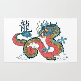 Chinese Dragon within Clouds Rug