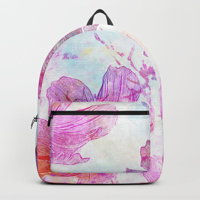 colorful Flowers mixed media art Backpack
