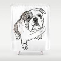 bulldog Shower Curtains featuring Bulldog by BlushBoundJazzy