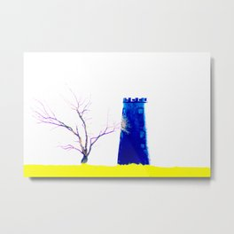 Tree With Blue Mill On Yellow Metal Print