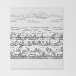 GREYHOUND TOILE LANDSCAPE  drawing Throw Blanket