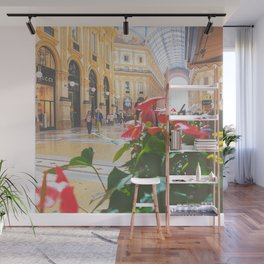 Laceleaf plants in glass-domed galleria of Milan Wall Mural