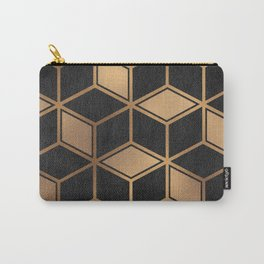 Charcoal and Gold - Geometric Textured Cube Design II Carry-All Pouch