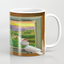"Springtime Grazing in Napa Valley 24"" x 36"" oil over clay with illustrations of our rescued parrots Coffee Mug"
