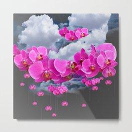 PINK ORCHID FLOWERS CLOUDS & RAIN Metal Print