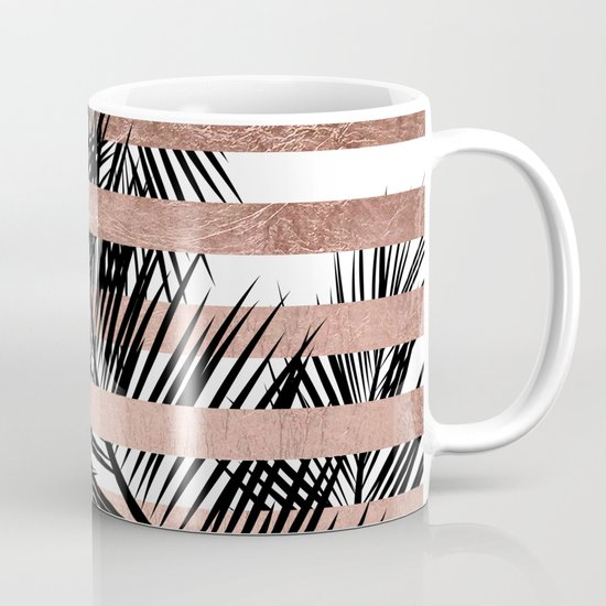 Trendy tropical palm trees chic rose gold stripes by girlytrend