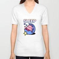 kirby V-neck T-shirts featuring Kirby Sleep by likelikes